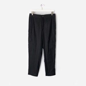 vince  silky linen blend slim cropped cargo pants